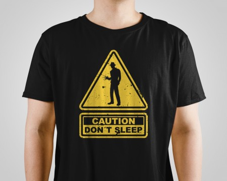 Almofada Camiseta Freddy Krueger Caution Dont Sleep-A Hora Do Pesadelo-