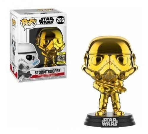 Funko Pop Stormtrooper Golden Chrome (2019 Galactic Convention), Star Wars 296-Stars Wars-296