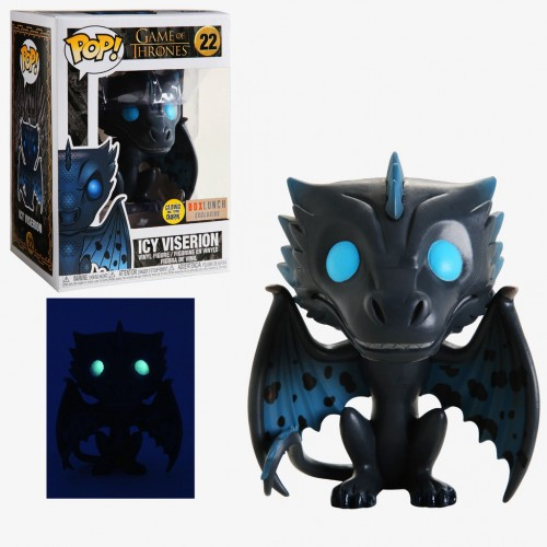 Funko Pop Icy Viserion Glow In The Dark + Camiseta G - Box Lunch - Game Of Thrones - #22