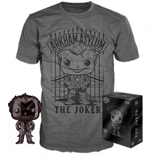 Funko Pop Joker Black Chrome + Camiseta M - Target-Batman Arkham Asylum-53