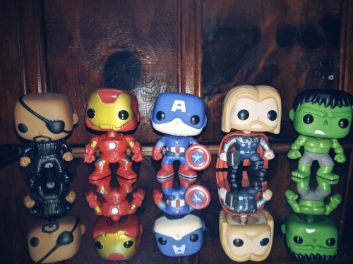 Funko Pop Kit Avengers 1 - Fury, Iron Man, Captain, Thor, Hulk-Vingadores-1