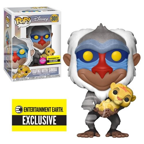 The Lion King: Rafiki With Baby Simba Flocked Pop! Vinyl Figure #301 - Entertainment Earth Exclusive-O Rei Leão-301
