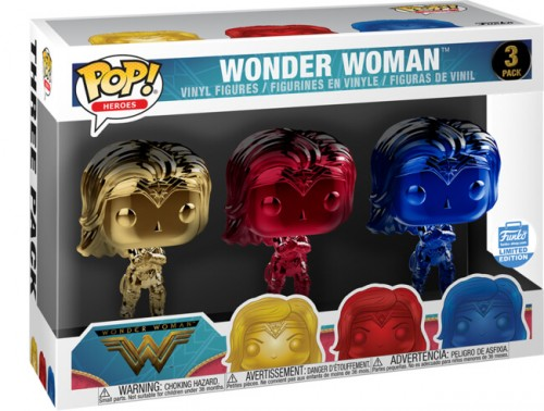Funko Wonder Woman - Yellow, Red, Blue Chrome 3-pack-DC-2